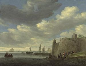 Rivierlandschap met boten en een vesting met een kanon