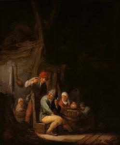 Interieur met een rokende en drinkende boerenfamilie