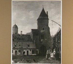 Zwolle, de Blijmarkt met links de Gelderse Toren en rechts de Luttekepoort