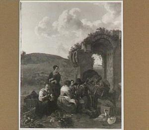 Groenteverkopers bij antieke ruïne