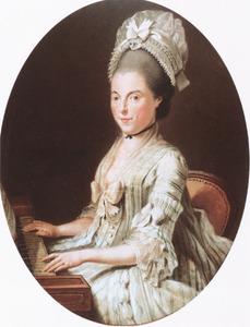 Portret van een vrouw aan een harpsichord