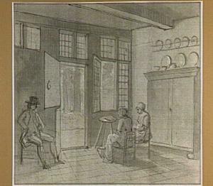 Interieur met twee zittende vrouwen en een man