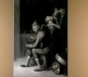 Oude man met een nachtspiegel wordt bespot door een ander