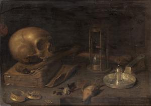 Vanitasstilleven met een schedel, een zandloper en andere voorwerpen