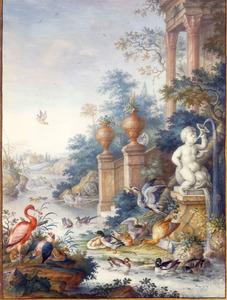 Arcadisch landschap met watervogels bij een rivier aan de voet van een landhuis