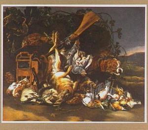 Hond bij vogelkooi en buit van haas en gevogelte in een landschap