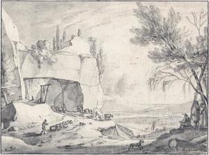 Rotslandschap met schaapherder, tekenaar en gezicht op een rivier
