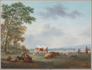 Herders met hun vee in een zonnig rivierlandschap