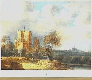 Landschap met gefantaseerd gezicht op de ruïne van kasteel Brederode vanuit het westen; op de achtergrond Haarlem