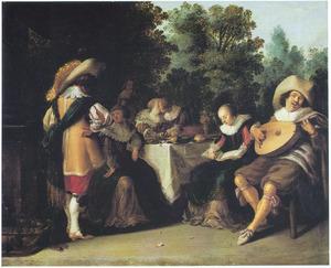 Elegant musicerend en minnekozend gezelschap rondom een tafel in een park