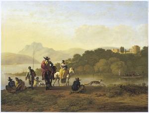 Zuidelijk landschap met ruiters en hengelaars