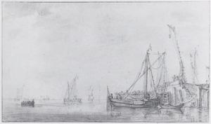 Vissersboten in de nabijheid van een havenhoofd