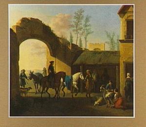 Binnenplaats van een herberg met ruiters en herders