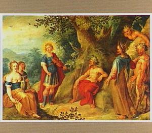 Boslandschap met het oordeel van Midas in de wedstrijd van Apollo en Pan (Ovidius Metamorphosen II:146-193)