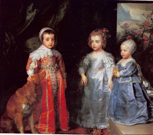 De drie oudste kinderen van Karel I Stuart (1600-1649) en Henrietta Maria de Bourbon (1609-1669): Charles (1630-1685), Mary (1631-1666) en James (1633-1685)