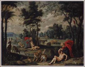 Landschap met de schepping van Adam en Eva en de zondeval (Genesis 3)
