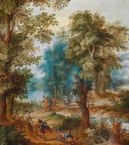 Boslandschap met een overval