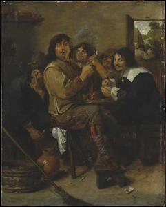 Rokend en drinkerd schildersgezelschap