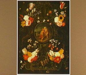 Voorstelling van Christus en de Johannes de Doper als kinderen omringd door een krans van bloemen