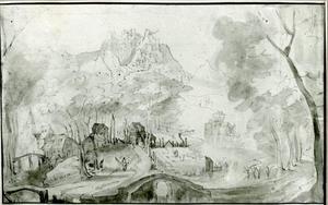 Rivierlandschap met een stenen brug
