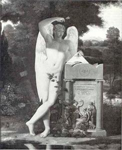 Eros bij een grafmonument met de drie schikgodinnen