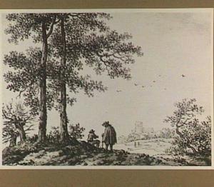 Landschap met figuren, op de achtergrond een kerk