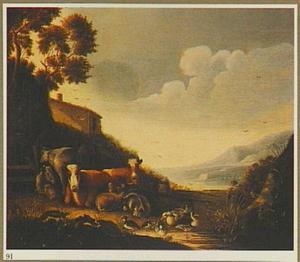Landschap met vee en pluimvee