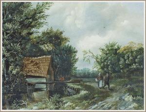 Bebost landschap met twee boeren bij een huis met pannendak