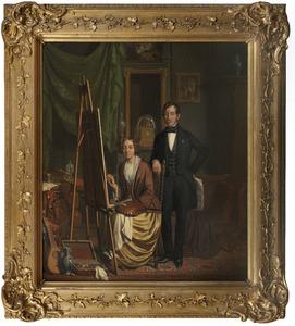 Portret van de schilderes Elisabeth Kiers-Haanen met haar echtgenoot, Petrus Kiers (1807-1875)