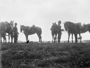 Gezicht op twee militairen met paarden tijdens een militaire manoeuvre