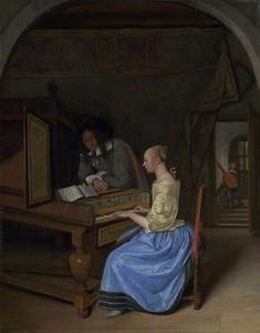 Jonge vrouw die klavecimbel speelt voor een jonge man