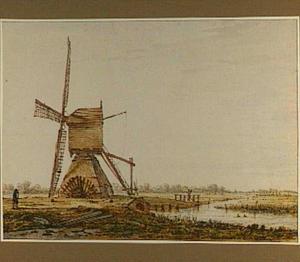 Polderlandschap met wipmolen bij Smitshoek, in de omgeving van Dordrecht