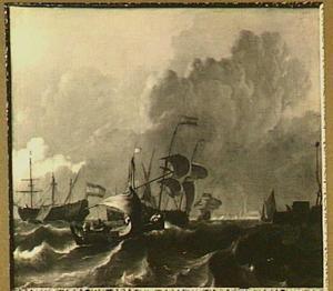 Schepen op het IJ; op de achtergrond het silhouet van Amsterdam