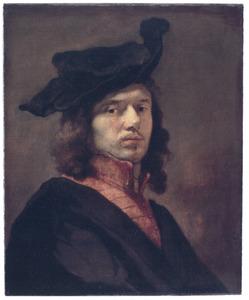 Zelfportret met baret en rood onderkleed