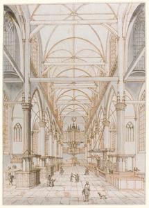 De Oude Kerk in Amsterdam in de richting van het orgel