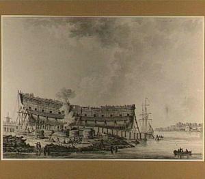 Bouw van het oorlogsschip 'Hercules' in Dordrecht op de werf van J. Spaan