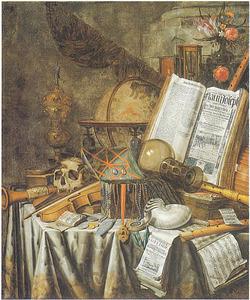Vanitasstilleven met nautilusschelp, juwelenkistje en ander voorwerpen op een gedekte tafel