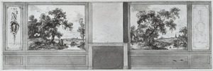 Zijwand met twee behangselvlakken met een landschap ter weerszijden van een schoorsteen en twee zijvlakken