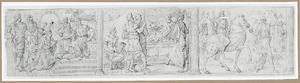 Koningin Ester knielend voor Ahasveros;  Haman gebracht voor de slapeloze Ahasveros;  de triomf van Mordekai