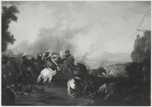 Ruitergevecht in een berglandschap
