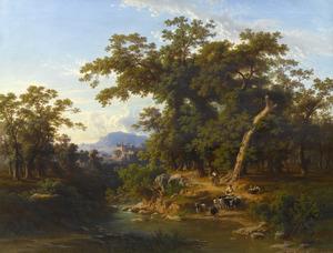 Berglandschap met een herder met zijn kudde bij een rivier