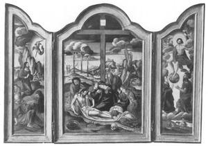 Christus in de hof van Gethsemane (links); De bewening (midden); Het laatste oordeel (rechts)