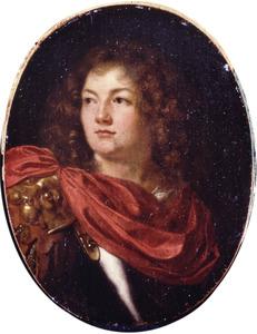 Portret van een jonge man in klassieke wapenrusting
