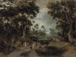 Bebost rivierlandschap met herders, reizigers en vee