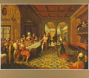 Salome presenteert het hoofd van Johannes de Doper op een schaal aan Herodes en Herodias