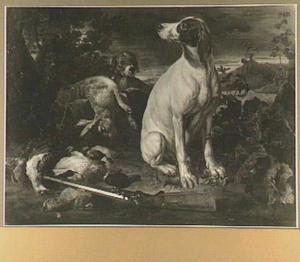 Twee honden in een landschap bij een buit van gevogelte en een haas