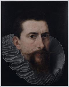 Portret van een man, schouderstuk, met een plooikraag à la confusion