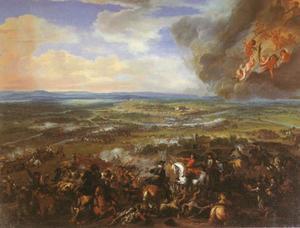 De slag bij Cassano d'Adda, 16 augustus 1705 tussen Eugenius van Savoie en Philippe Vendôme