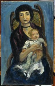 Portret van moeder en kind in een leunstoel