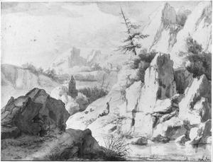 Italianiserend berglandschap met rivier